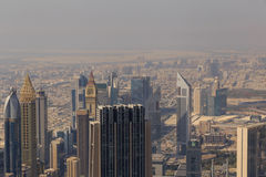 DUBAI, UAE - MAY 20, 2016: aerial view of Dubai. From At The Top, Burj Khalifa tower Stock Images