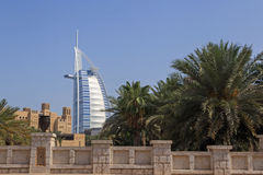 DUBAI, UAE - MAY 12, 2016: Burj Al Arab hotel. DUBAI, UAE - MAY 12, 2016: view on Burj Al Arab hotel from Souk Madinat Royalty Free Stock Images