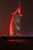 DUBAI, UAE - MAY 12, 2016: Burj Al Arab. DUBAI, UAE - MAY 12, 2016: sight of Burj Al Arab in Dubai at night Stock Images