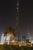 DUBAI, UAE - MAY 11, 2016: Burj Khalifa tower at night Stock Photo
