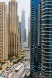 DUBAI,UAE - MAY 18: Dubai Downtown skyline. Dubai Sheikh Zayed R Royalty Free Stock Image