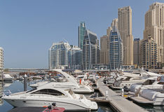 DUBAI, UAE - MAY 11, 2016: Dubai Marina district Royalty Free Stock Photos