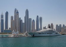 DUBAI, UAE - MAY 15, 2016: luxury yacht in yacht club. Of district Marina in Dubai Royalty Free Stock Images
