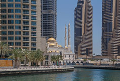 DUBAI, UAE - MAY 15, 2016: mosque in district Marina. DUBAI, UAE - MAY 15, 2016: view on mosque in district Marina in Dubai Royalty Free Stock Images