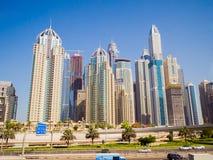 Dubai, UAE - May 15, 2018: Panorama of tall Skyscrapers in skyline of Dubai. royalty free stock photography