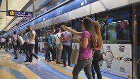 Dubai, UAE - May 15, 2018: Passengers in the underground metro of Dubai. Passengers in the underground metro of Dubai stock video