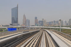 DUBAI, UAE - MAY 12, 2016: sight of city. DUBAI, UAE - MAY 12, 2016:  sight of city from metro Stock Image