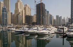 DUBAI, UAE - MAY 16, 2016: speedboats in yacht club. Of district Marina in Dubai Royalty Free Stock Photos