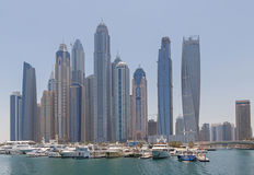DUBAI, UAE - MAY 15, 2016: towers and yacht club Stock Photos
