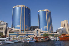 DUBAI, UAE - MAY 14, 2016: Twin Towers building. In Dubai Creek Stock Image