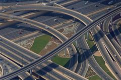 DUBAI, UAE - MAY 20, 2016: view on road flyover in Dubai. From At The Top, Burj Khalifa tower Stock Images