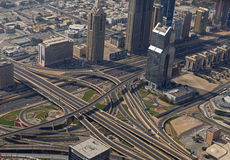 DUBAI, UAE - MAY 20, 2016: view on road flyover. In Dubai from At The Top, Burj Khalifa tower Royalty Free Stock Photos