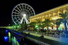 Buhierah corniche. Night view of ferris wheel at buhierah corniche uae Royalty Free Stock Photography