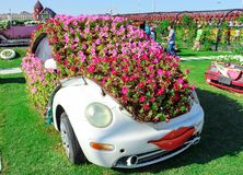 DUBAI, UAE - NOV, 2013: Fun cartoon car made with flowers at the Miracle Garden in Dubai. United Arab Emirates.  stock image