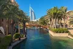 DUBAI, UAE - NOV 12, 2018: View of Burj Al Arab hotel from Madinat Jumeirah hotel. Madinat is a luxury resort which includes hotels and souk covering an area royalty free stock images