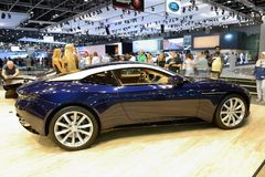 The Aston Martin DB 11 sports car is on Dubai Motor Show 2017. DUBAI, UAE - NOVEMBER 18: The Aston Martin DB 11 sports car is on Dubai Motor Show 2017 on Stock Photography