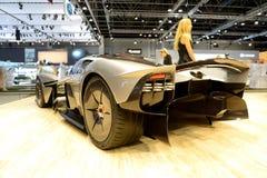 The Aston Martin Valkyrie hybrid electric sports car is on Dubai Motor Show 2017. DUBAI, UAE - NOVEMBER 18: The Aston Martin Valkyrie hybrid electric sports car Stock Photography