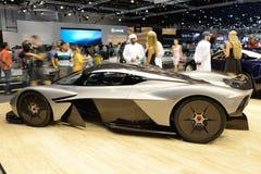 The Aston Martin Valkyrie hybrid electric sports car is on Dubai Motor Show 2017. DUBAI, UAE - NOVEMBER 18: The Aston Martin Valkyrie hybrid electric sports car Stock Image