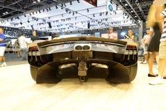 The Aston Martin Valkyrie hybrid electric sports car is on Dubai Motor Show 2017. DUBAI, UAE - NOVEMBER 18: The Aston Martin Valkyrie hybrid electric sports car Royalty Free Stock Photography