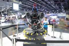 The Based on the Lego Technic BMW R 1200 GS Adventure kit futuristic concept hover vehicle. DUBAI, UAE - NOVEMBER 18: The Based on the Lego Technic BMW R 1200 GS Royalty Free Stock Photos