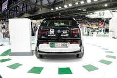 The BMW i3 of Dubai Police electric car is on Dubai Motor Show 2017 Stock Photography
