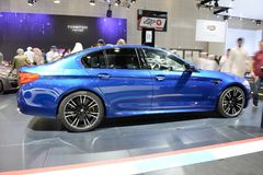 The BMW M5 sportscar is on Dubai Motor Show 2017 Stock Images