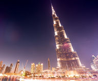 DUBAI, UAE - NOVEMBER 23, 2015: Burj Khalifa at night in Dubai, Royalty Free Stock Image