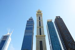 The Emirates Towers and skyscrapers Stock Photography