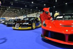 The Ferrari LaFerrari sportscar is on Boulevard of Dreams on Dubai Motor Show 2017 stock image