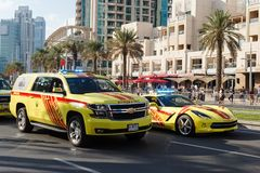 Fire and Rescue cars. Parade celebrate National Day United Arab Emirates. Stock Image