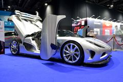 The Koenigsegg Agera R race car is on Dubai Motor Show 2017 Royalty Free Stock Images