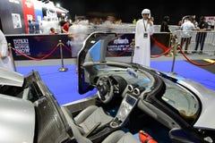 The Koenigsegg Agera R race car is on Dubai Motor Show 2017. DUBAI, UAE - NOVEMBER 18: The Koenigsegg Agera R race car is on Dubai Motor Show 2017 on November 18 Stock Photos