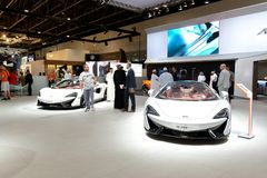 The McLaren 570GT and 570S sportscars are on Dubai Motor Show 2017 Royalty Free Stock Images