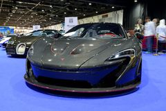 The McLaren P1 race car is on Dubai Motor Show 2017 Royalty Free Stock Photo