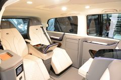 The Mercedes-Benz Brabus V-class van interior is on Dubai Motor Show 2017 stock photography