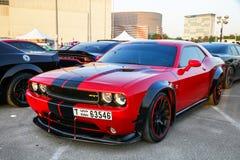 Dodge Challenger SRT. Dubai, UAE - November 15, 2018: Muscle car Dodge Challenger SRT takes part in the annual Gulf Car Festival royalty free stock photos
