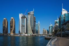 Panoramic view of the canal from the bridge in the Dubai Marina Royalty Free Stock Photography