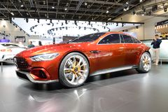 The show car Mercedes-AMG GT Concept is on Dubai Motor Show 2017 Royalty Free Stock Photos