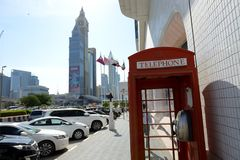 The telephone box is near Sheikh Zayed road Stock Photography