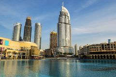The view on Dubai Mall and Address hotel Royalty Free Stock Photography
