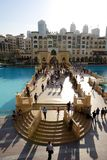 The view on Souk Al Bahar and tourists are near Dubai Mall Stock Image
