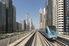 View of Metro train in downtown Dubai stock photography