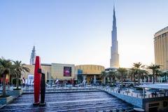 DUBAI, UAE - OCTOBER 14: Main Entrance to the Dubai Mall. October 14, 2014 in Dubai, United Arab Emirates. DUBAI, UAE - OCTOBER 14: Main Entrance to the Dubai Stock Photo