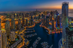 DUBAI, UAE - OCTOBER 13: Modern buildings in Dubai Marina, Dubai Royalty Free Stock Photos
