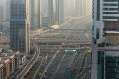 Dubai, UAE - October, 2018. Top view of numerous cars in a traffic in Dubai, United Arab Emirates