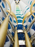 The world's tallest atrium in Burj Al Arab hotel in Dubai. DUBAI, UAE - OCTOBER 24:The world's tallest atrium in Burj Al Arab hotel on October 24, 2007 in Dubai royalty free stock photo