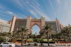 DUBAI, UAE Panorama of Atlantis hotel on January 02, 2019 in Dubai, UAE. Atlantis the Palm is a luxury 5 star hotel royalty free stock images