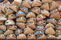 Dubai UAE Sandals made from camel skins are for sale in the Bur Dubai souq. Stock Photography