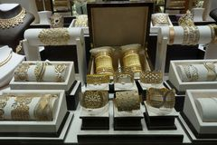 DUBAI, UAE - SEPTEMBER 3 2017 - The gold souk market at night Royalty Free Stock Images