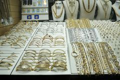 DUBAI, UAE - SEPTEMBER 3 2017 - The gold souk market at night Royalty Free Stock Photos